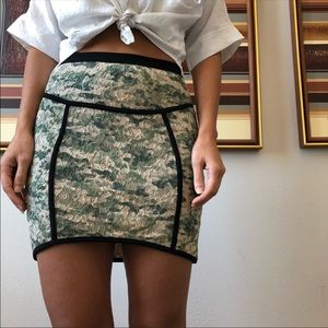 Camo army green lace mini skirt